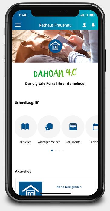 Startseite der Anwendung Rathaus Frauenau