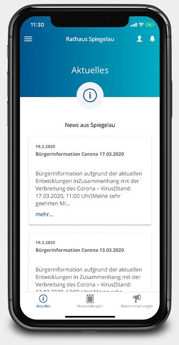 Aktuelle Meldung der Rathaus App Spiegelau