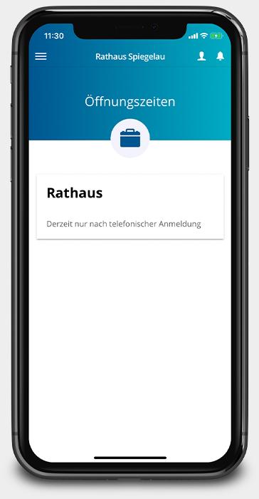 Rathaus App Spiegelau zeigt die aktuellen Öffnungszeiten